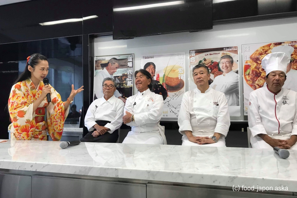 料理の鉄人が実演「Top of Cook 2019」道場六三郎氏、坂井宏行シェフ、陳建一シェフ。辻口博啓シェフのスーパースイーツ調理専門学校の名誉教授による夢のオープンキャンパス。ランチは落合務シェフ。私は料理解説をしました!